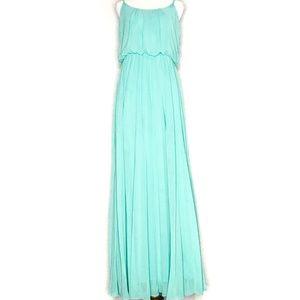 Bisou Bisou Green Chiffon Maxi Dress Gown H0772